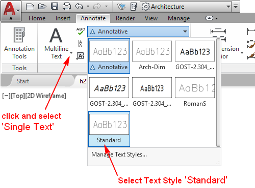 Fig.2.1.1.5 - Set the Current Text Style