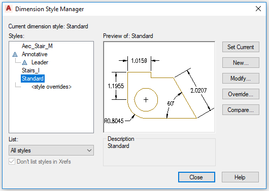 Fig.2.1.1.6 - Dimension Style Manager